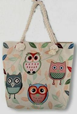 Zippered Owl Canvas Tapestry Tote Bag with Inside Zipper Poc